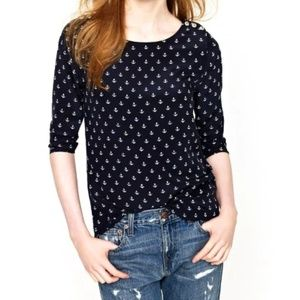 J. Crew Silk Scoopneck Anchors Away Blouse